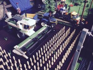 LEGO combine harvester in a corn field