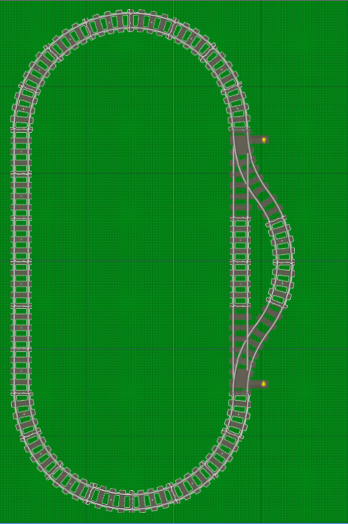 LEGO track layout: passing loop