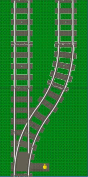 Standard LEGO track geometry: point/switch