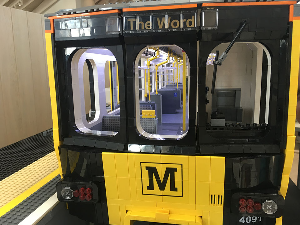 Front of LEGO Metro train model - BrickMetro