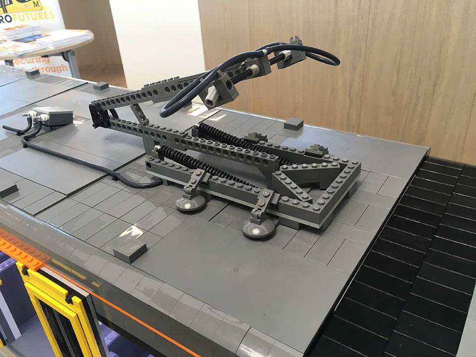 LEGO Tyne & Wear Metro model - pantograph close up