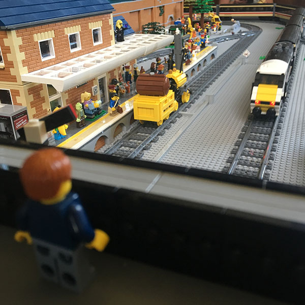 Ambridge Railway Station LEGO display - LEGO model by Bricks McGee