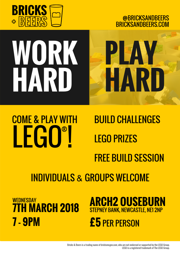 Bricks & Beers posters - LEGO events in Newcastle