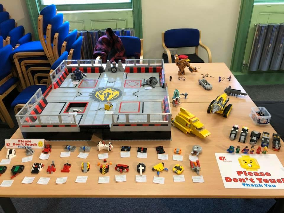 LEGO Robot Wars arena model at Head of Steam 2018, by Stephen Edmonds