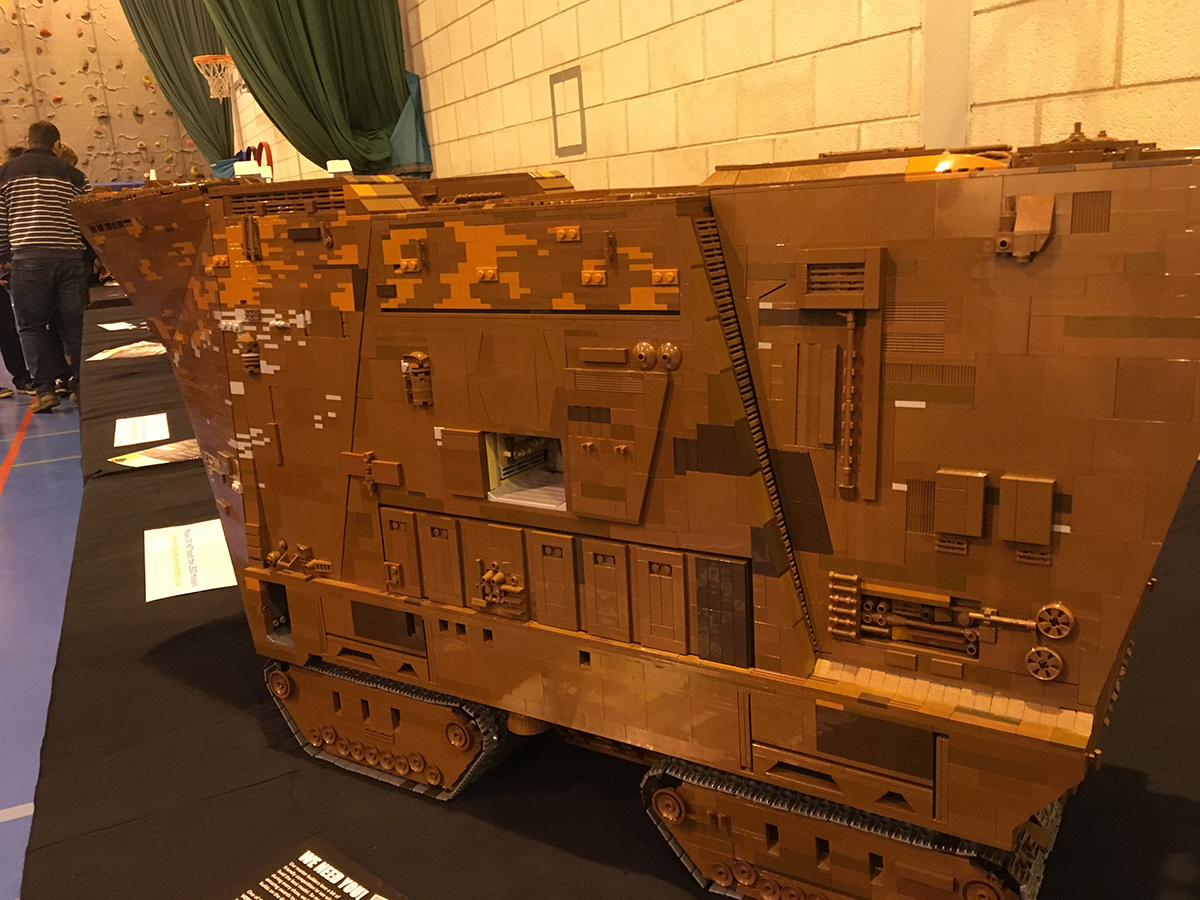 Giant LEGO Star Wars Sand Crawler model at Sheffield Block Con