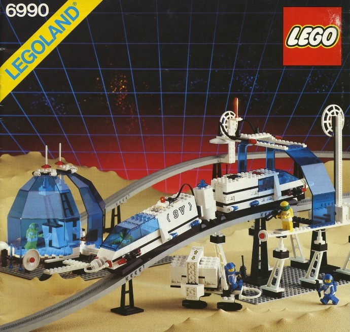 LEGO classic space monorail set . Image: https://brickset.com/sets/6990-1/Monorail-Transport-System