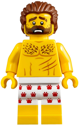 LEGO figure from LEGO City 60173 Mountain Arrest, with claw-patterned underwear