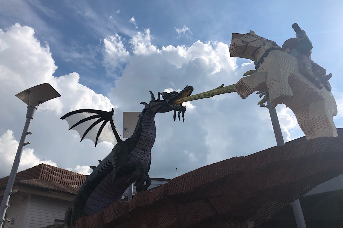 LEGO model of a knight and a dragon fighting at Disney Springs