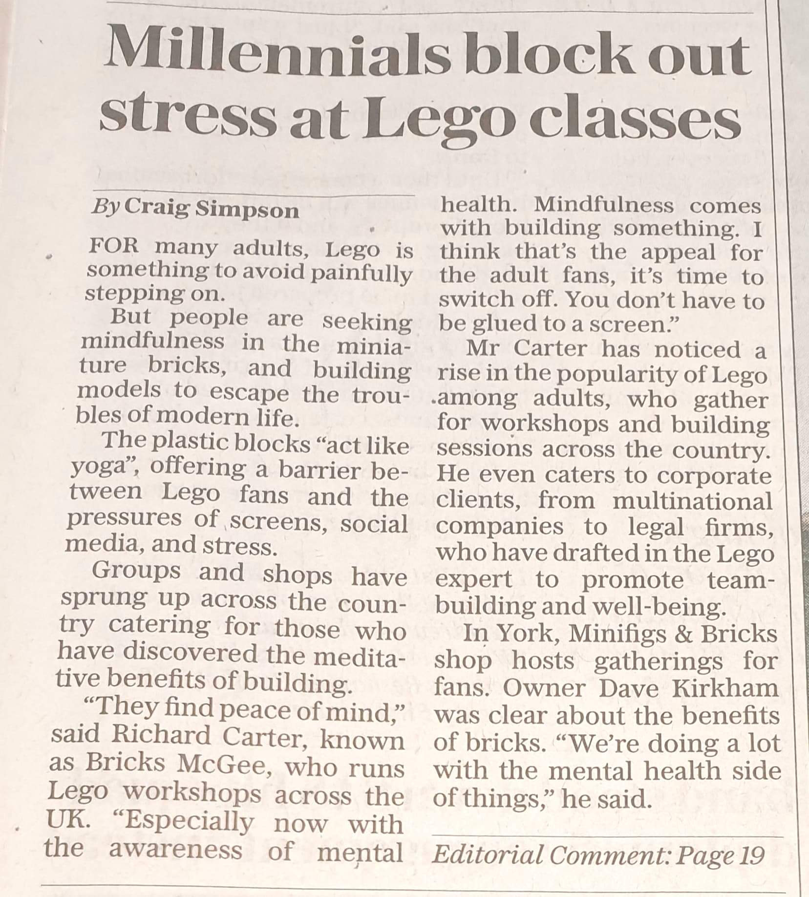 LEGO workshops in The Daily Telegraph