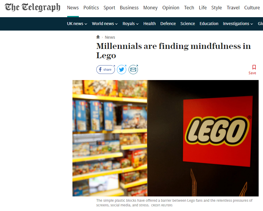 Daily Telegraph online article about LEGO workshops