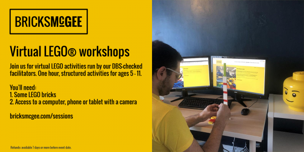 New online LEGO workshops with Bricks McGee
