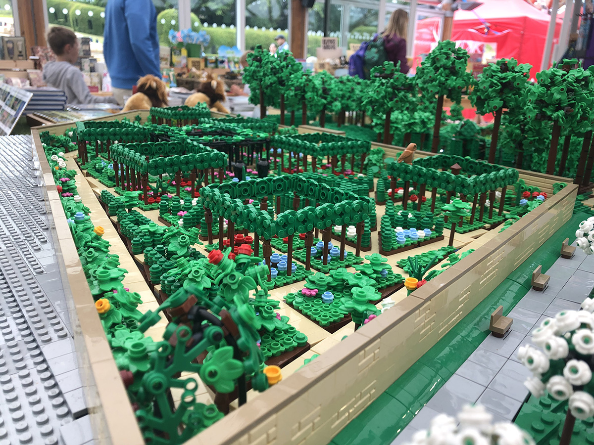 Overview of the walled garden at Alnwick Garden LEGO model